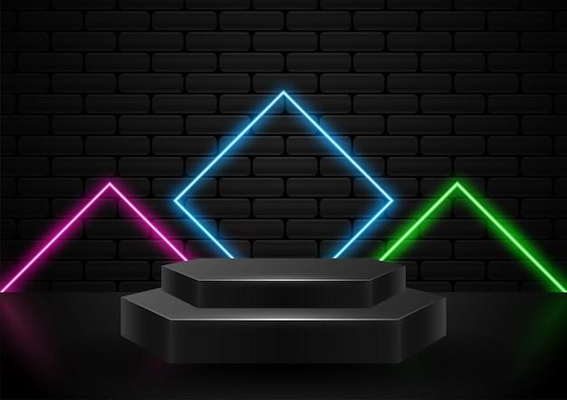 ネオンライト形イラストベクトルと表彰台