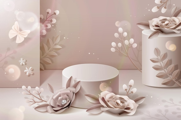 Podium with pale pink paper flowers in 3d