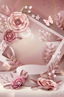 Podium with paper flowers and frame in 3d