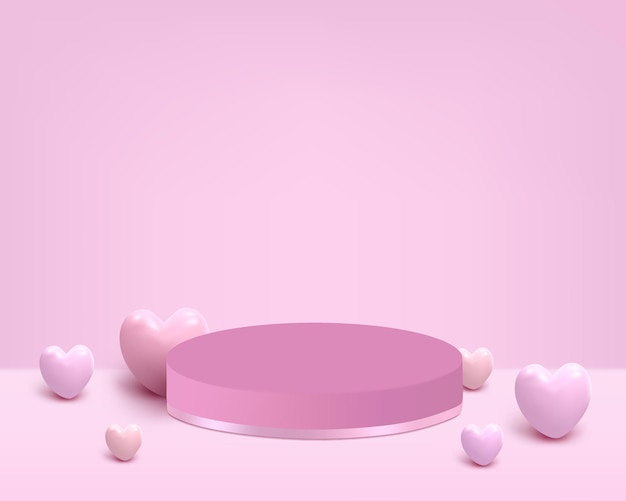 Podium with pink heart for placing product
