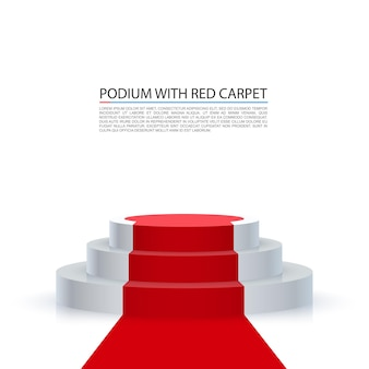 Podium with red carpet, red stairs background