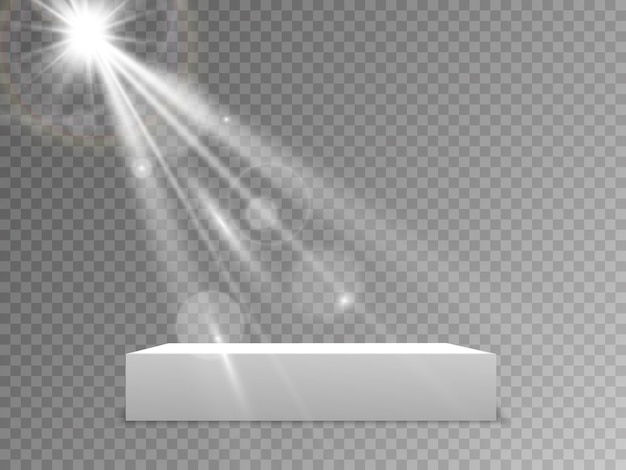 Podium with a red carpet. scene for the award ceremony. pedestal. floodlight. illustration. podium in the light in the stars.