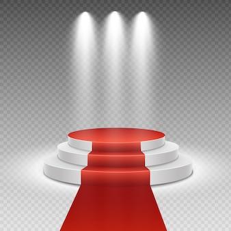 Podium with red carpet. stage for awards ceremony. pedestal. spotlight.   illustration.