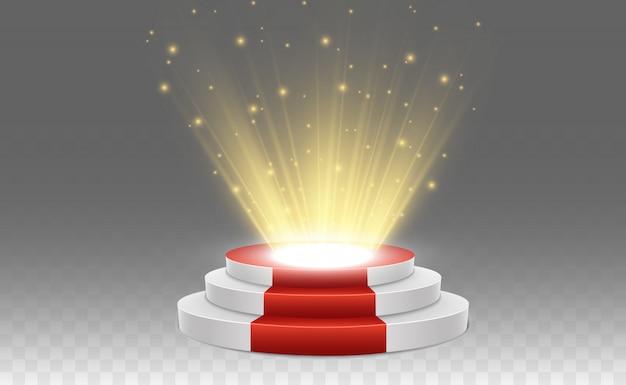 Подиум с красной ковровой дорожкой. сцена для церемонии награждения. пьедестал. прожектор. ,