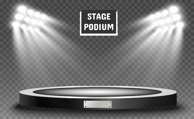 Podium with a spotlight on a dark background, first place, fame and popularity. realistic podium illuminated by spotlights.