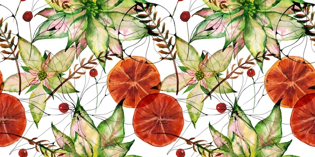 포인세티아와 오렌지와 겨울 딸기
