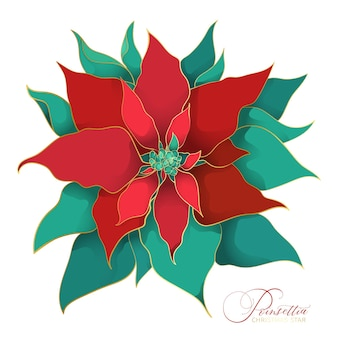 ポインセチアのクリスマス咲く木。緑と赤の絹の葉の枝で、アジアのトレンドに細線細工の金色の線があります。クリスマスのお祝いのためのエレガントで豪華な装飾