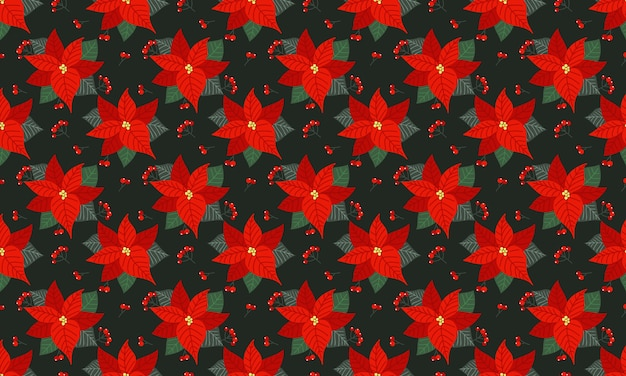 Poinsettia christmas floral seamless pattern background.
