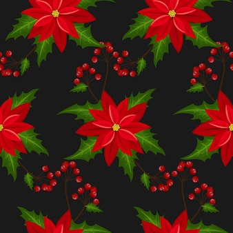 Poinsettia christmas flowers seamless pattern.