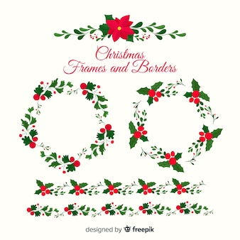 Poinsettia christmas frames and borders