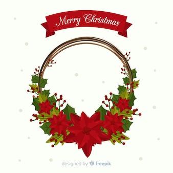 Poinsettia christmas wreath background
