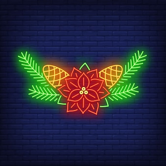 Poinsettia flower, fir-tree needles and cones neon sign