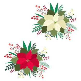 포인세티아 꽃은 붉은 색과 흰색이며 가문비 나무 가지, 붉은 열매, 겨우살이 류 가지와 잎을 동반합니다. 평면 그림.