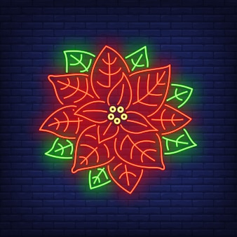 Poinsettia flower neon sign
