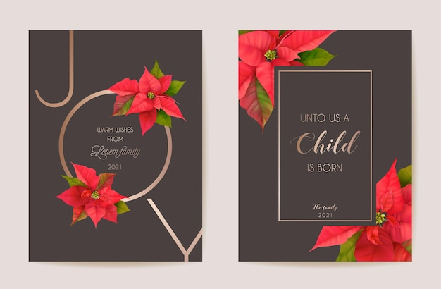 Poinsettia realistic vector christmas card set, floral happy new year illustration. mistletoe frame design set, winter 3d flowers greetings, invitation, flyer, brochure, cover