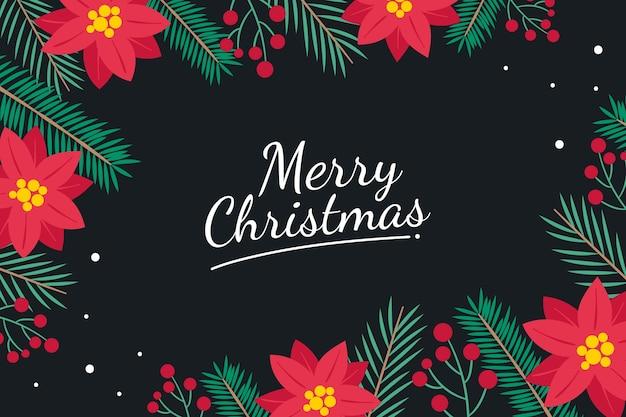 포 인 세 티아 붉은 꽃과 나무 크리스마스 가지