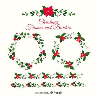 Poinsettiaクリスマスフレームとボーダー