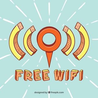 Punto di wifi gratuito con stile disegnato a mano