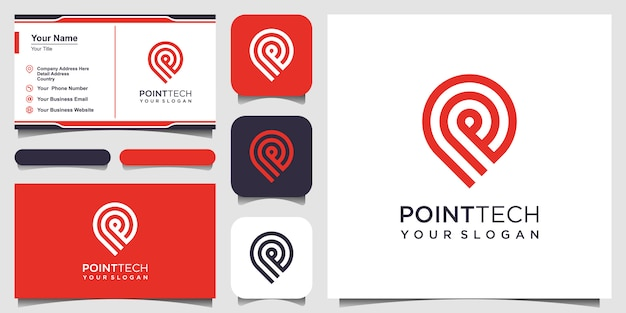 ラインアートスタイルのポイントテックロゴ。創造的な技術、エレクトロニクス、デジタル、ロゴタイプ、アイコンまたはコンセプト。と名刺デザイン