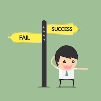 成功への道を示す。ビジネスマンのコンセプト