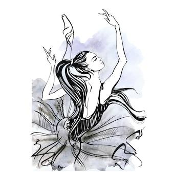 バレリーナ。バレエpointeの靴のダンスの女の子。水彩。