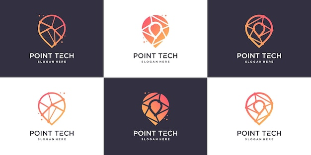 Pointech logo collcetion with creative modern style premium vector