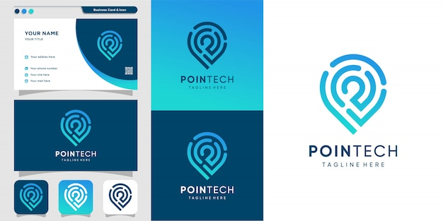 Pointech logo with line art style and business card design template, modern, technology, computer, icon,