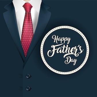 아버지 날의 도장 스탬프와 양복에 지적 된 넥타이