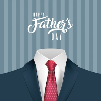 Pointed red necktie on suit of fathers day