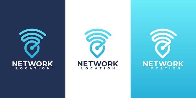 ポインターとwifiロゴの組み合わせ。インターネットのロゴタイプのデザインテンプレート。