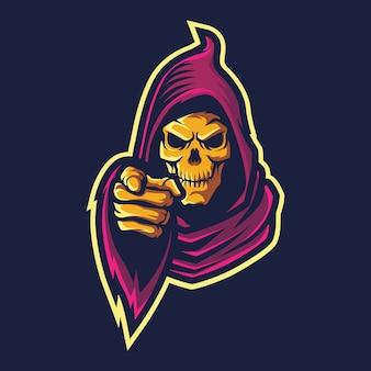 Pointing devil esport logo illustration