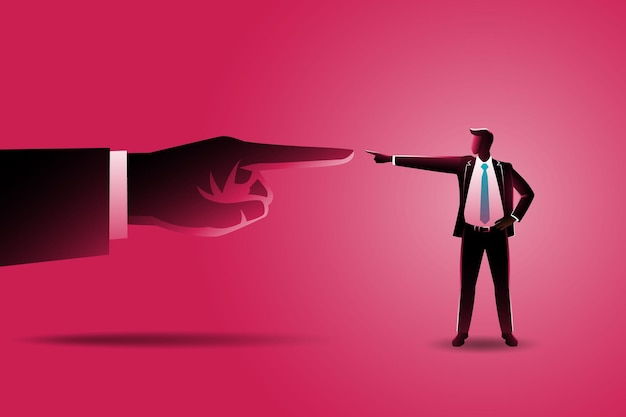 Pointing each other between small businessman with giant hand