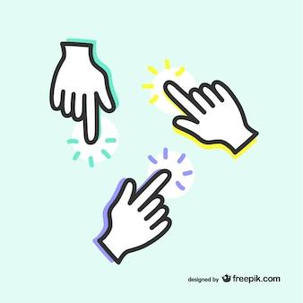 Указывая значок руки