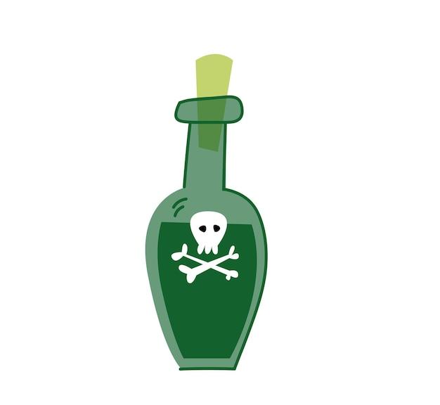 흰색 배경, 벡터에 독 병입니다. 해적 럼이 있는 녹색 병. 고립 된 클립 아트 만화