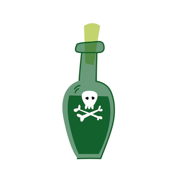Poison bottle on white background, vector. green bottle with pirate rum. isolated clipart cartoon