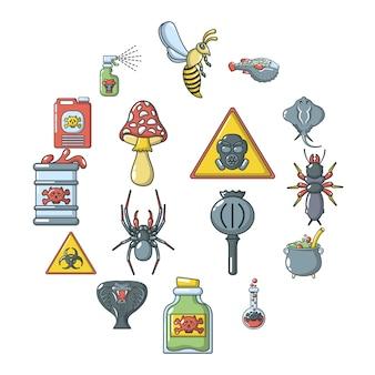Poison danger toxic icon set, cartoon style