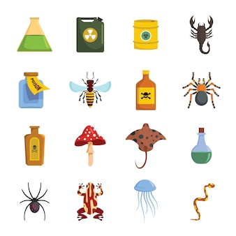 Poison danger toxic icons set