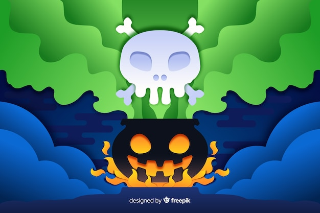 Poison gas from melting pot halloween background