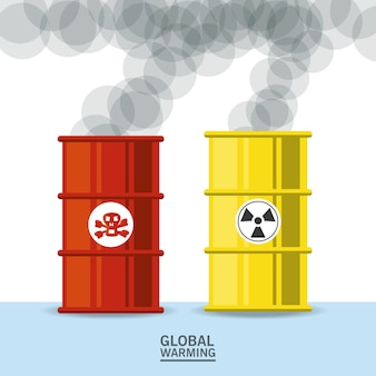 Poison and nuclear barrels icon colorful design
