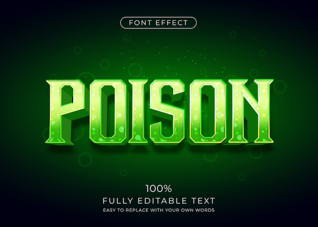 Poison text effect with vibrant color. editable font style