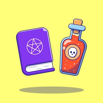 有毒な液体ボトルと魔法の本漫画フラットイラスト。