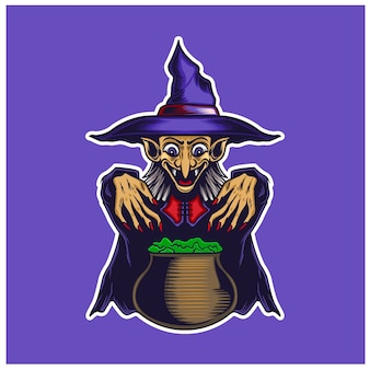 A poisonous witch isolated on purple
