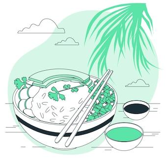 Poke bowl concept illustration