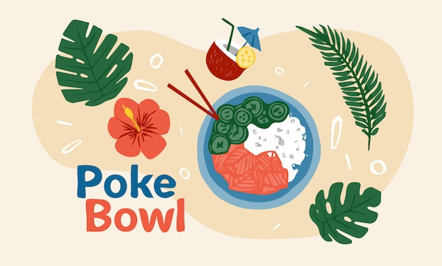 Poke bowl hawaiian dish with rice, fresh fish, vegetables, spices and greens