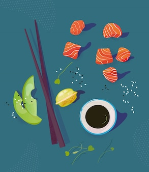 Poke bowl ingredients vector illustration. salmon peaces, avocado, chopsticks and soy sause. healthy food concept. top view