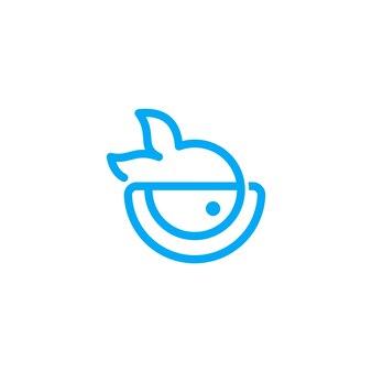 Poke bowl line logo