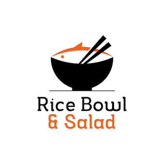 Poke bowl logo design salmon vector