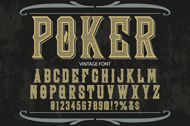 Poker alphabet label design