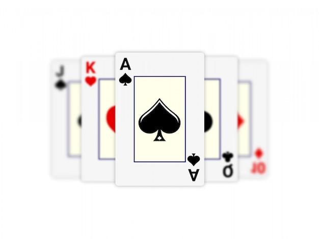 白い背景のスペードのエースの火かき棒およびカジノのコンセプト。