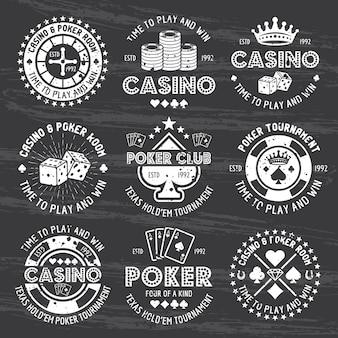 ポーカーとカジノのベクトル白いギャンブルエンブレムのセット